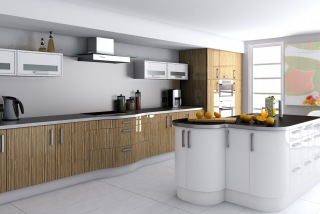 Contemp_Kitchen_01_Recon_Zebrano_White_High_Gloss_T98&Curved shape doors